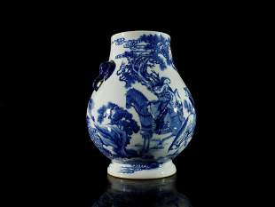 A Rare Blue and White Figure Handle Vase