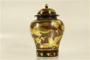 A Fine Copper Flower and Bird Hatcovered Jar