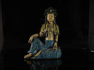 A Fine Fahua Figure of Guanyin