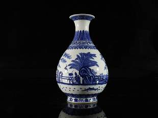 A Fine Blue and White Pearshaped Vase