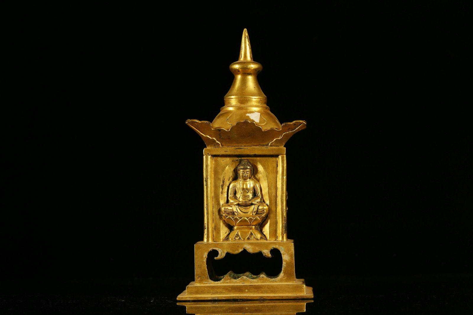 A Rare and Fine Gilt-Bronze Pagoda