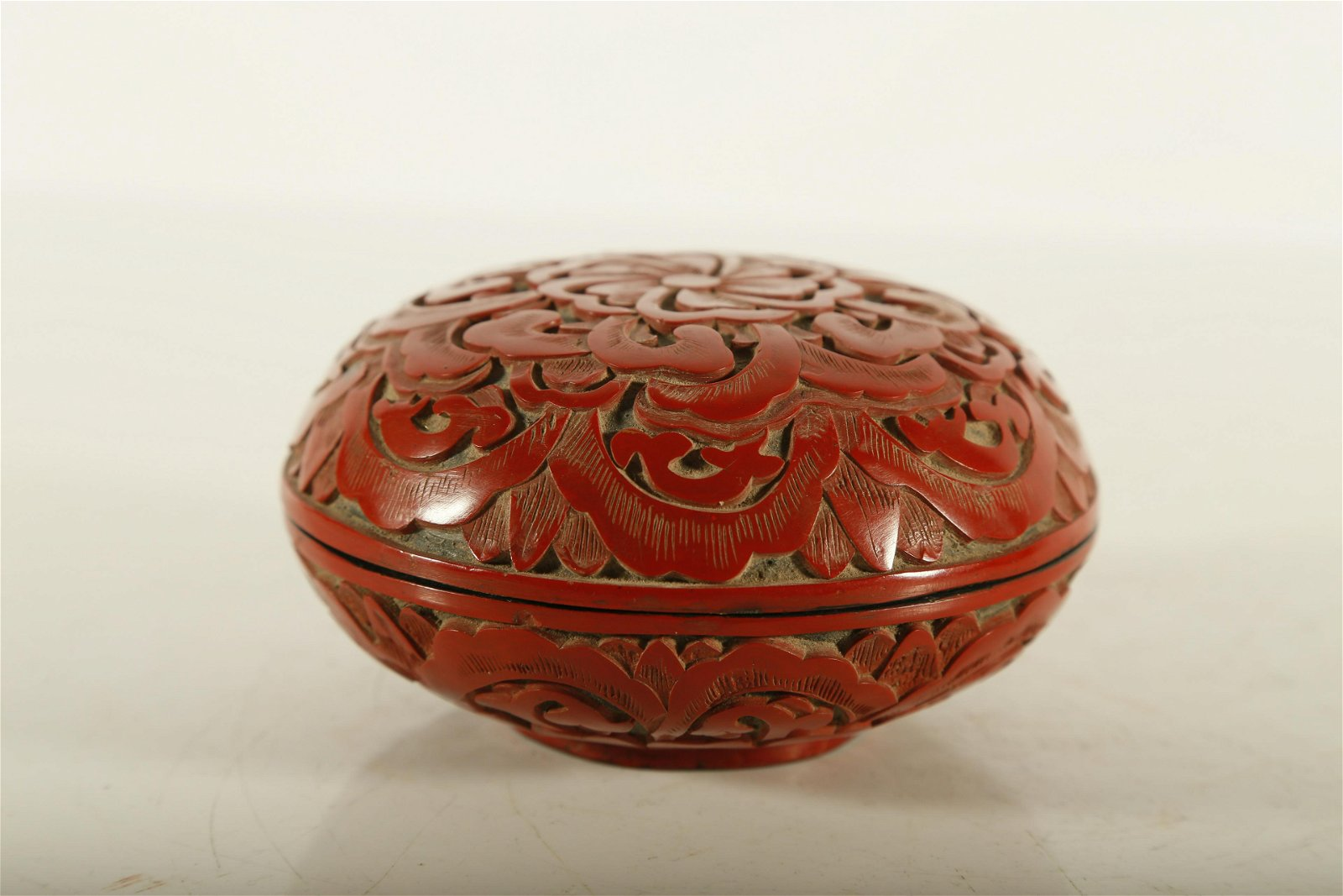 A Rare Red Carved Lacquer 'Flower' Round Box