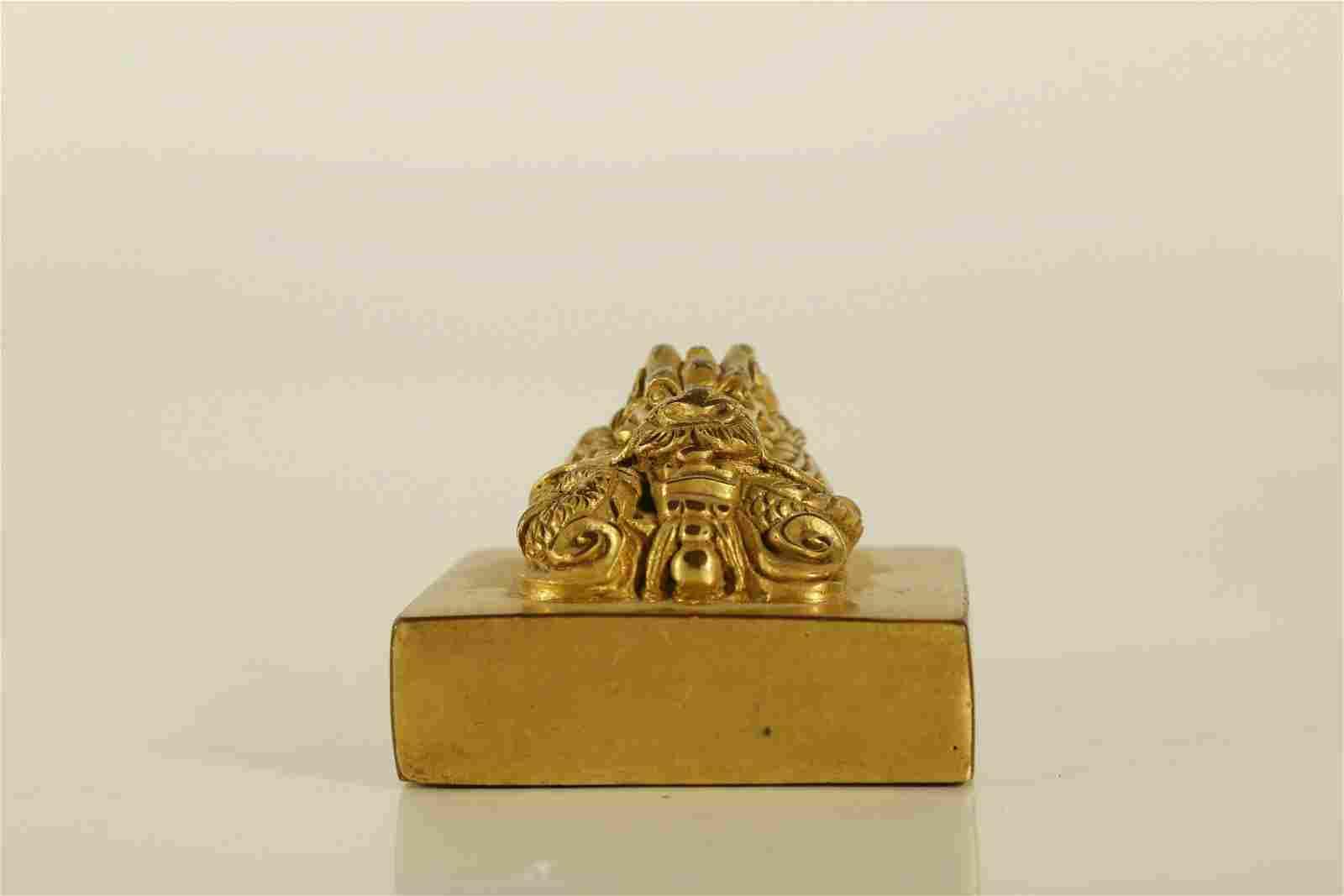 An Exquisite Gilt-Bronze 'Dragon' Seal