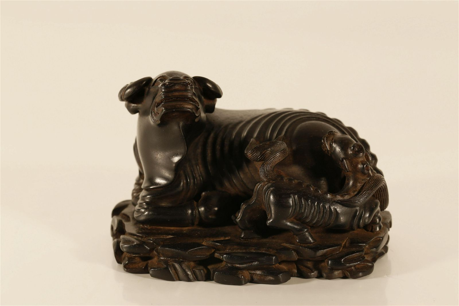 A Fine Zitan Wood 'Mythical Beast' Ornament