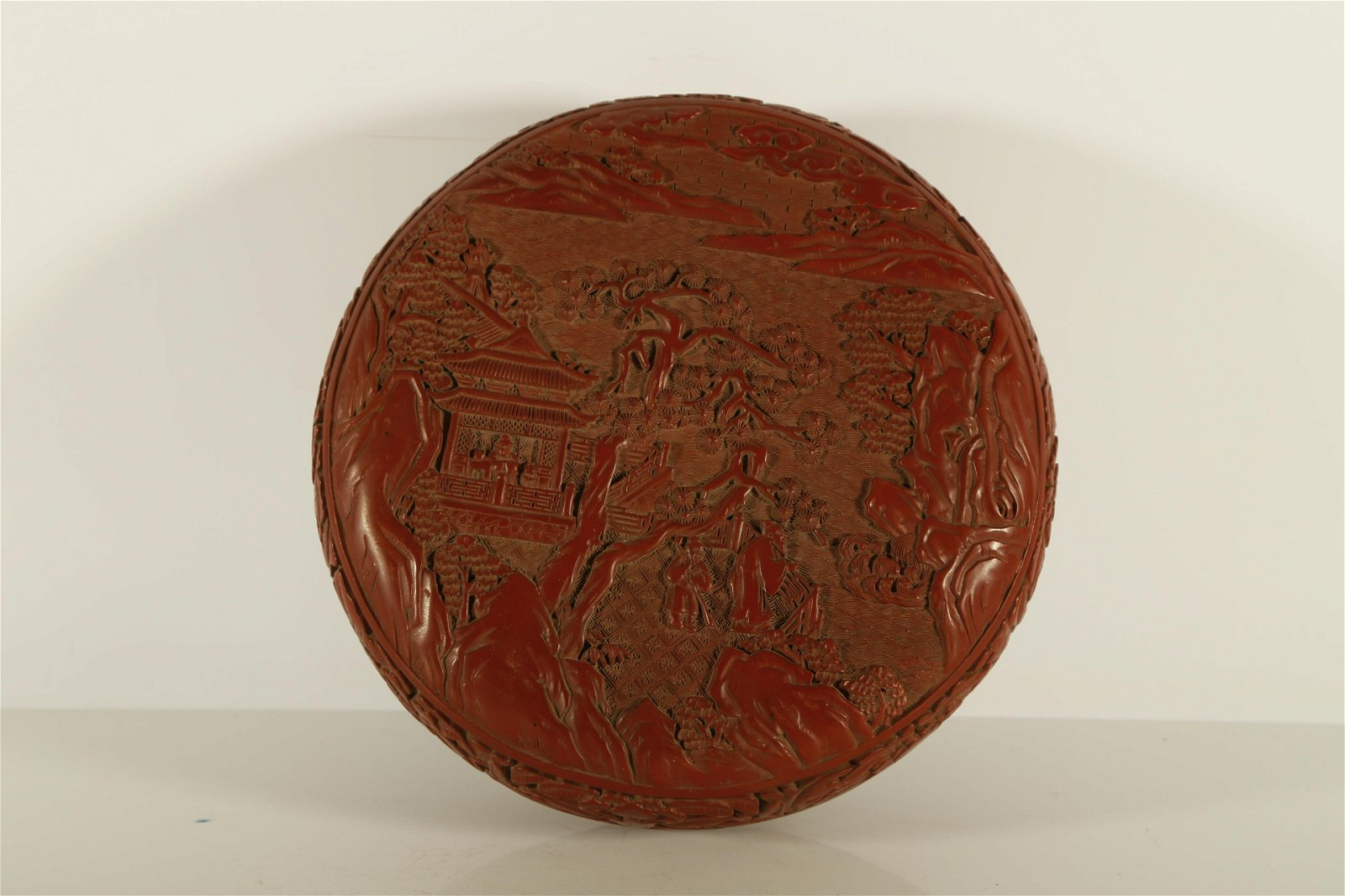 A Rare Red Carved Lacquer Round Box