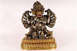 An Unusual gilt-bronze figure of Yamantaka