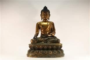 A Gilt Bronze Sakyamuni Buddhist Figure