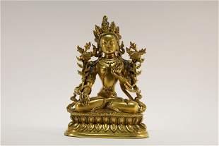A Gilt Bronze Manjusri Statue