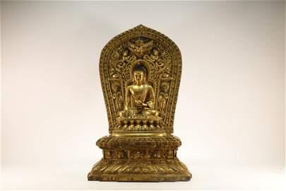 A Gilt Bronze Bhaisajyaguru Figure