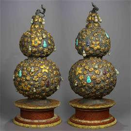 QING DYNASTY, A PAIR OF SILVER GOURD BOTTLES, INLAID