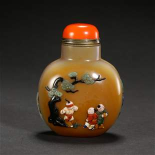 CHINESE AGATE CORAL SNUFF BOTTLE, QING DYNASTY