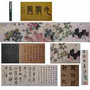 A LONG SCROLL OF CHINESE PAINTING AND CALLIGRAPHY