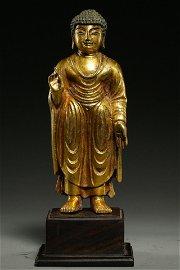 KOREAN GILT BRONZE STANDING BUDDHA STATUE
