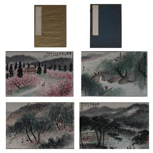 TWO CHINESE CALLIGRAPHY AND PAINTING ALBUM 'LANDSCAPE'