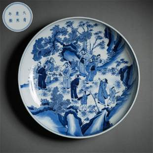 CHINESE BLUE AND WHITE FIGURE PLATE, KANGXI PERIOD,