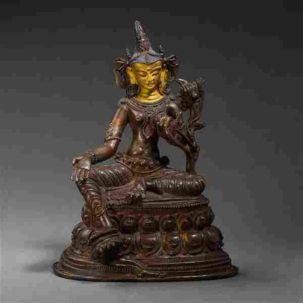 ANCIENT INDIAN GILT BRONZE BUDDHA STATUE