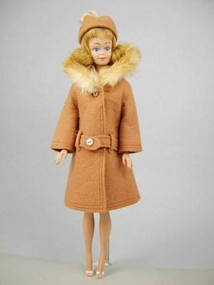 """Midge wearing """"It's Cold Outside"""" (brown version)"""