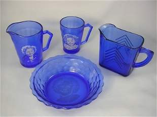 FOUR PIECES SHIRLEY TEMPLE COBALT BLUE GLASSWARE