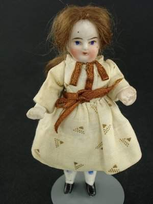 """4"""" EARLY GERMAN ALL BISQUE DOLL MARKED 250"""