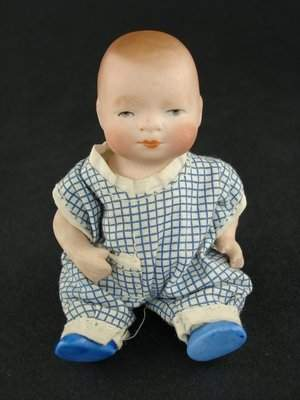 """4"""" ALL BISQUE GERMAN BYE-LO BABY WITH BLUE SHOES"""