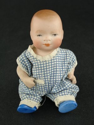 """423: 4"""" ALL BISQUE GERMAN BYE-LO BABY WITH BLUE SHOES"""