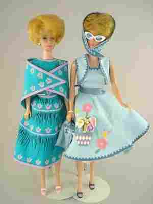 TWO BLONDE BUBBLECUT BARBIES IN SEW-FREE FASHIONS