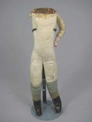 """14"""" KID BODY w BISQUE LOWER ARMS, ANTIQUE DRESS"""