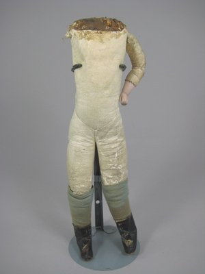 """16: 14"""" KID BODY w BISQUE LOWER ARMS, ANTIQUE DRESS"""
