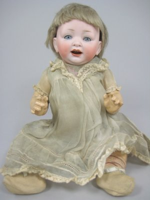 """17: 15"""" LOUIS WOLF & CO. 152 BISQUE CHARACTER BABY"""