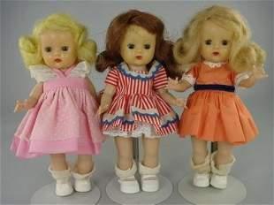 """THREE 7 1/2"""" MUFFIE DOLLS BY NANCY ANN"""