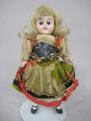 """3 1/2"""" GERMAN ALL BISQUE ETHNIC COSTUME DOLL"""