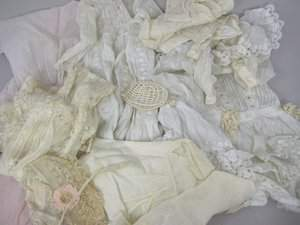 BOX OF ASSORTED ANTIQUE DOLL CLOTHES