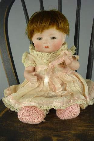 """6"""" ALL BISQUE BYE-LO BABY WITH SLEEP EYES, WIG"""