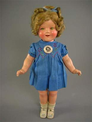 """18"""" COMPOSITION SHIRLEY TEMPLE IN TAGGED DRESS"""