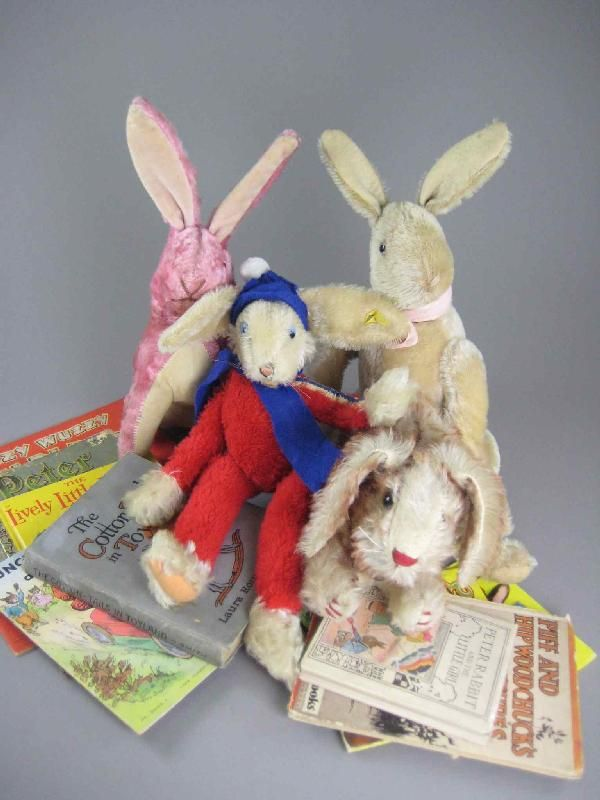 FOUR VINTAGE BUNNIES AND CHILDREN'S BOOKS