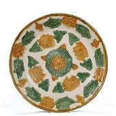 TANG Dynasty, Yellow and green galze porcelain plate