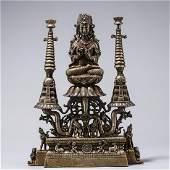 Copper inlaid silver buddha statue
