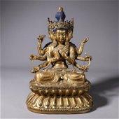 Gilt bronze statue of eight-armed Guanyin Buddha