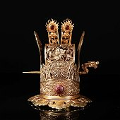 Copper gilt crown inlaid with ruby