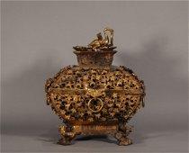 Shang Zhou stye, Chinese ancient gilt bronze censer