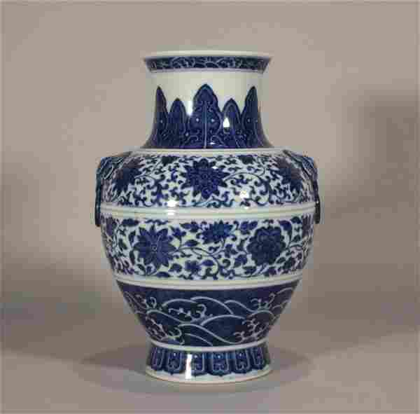 Qing style, Qian Long, blue and white porcelain jar