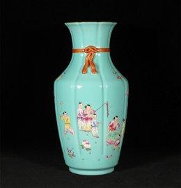 Qing style, Qian Long, green glaze famille rose figure