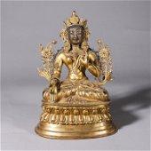 A gilding copper tara buddha statue