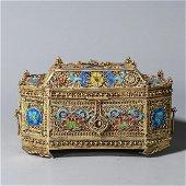 A gilding silver gem-inlaid covered box