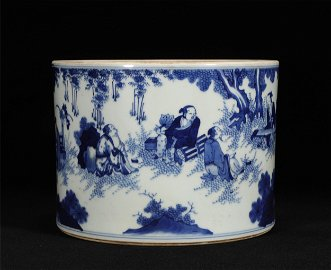 The penholder of blue and white characters in Kangxi in