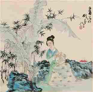 chinese liu danzhai's figure painting