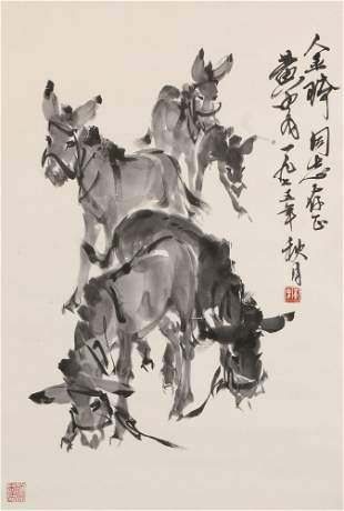 chinese huang zhou's donkey painting