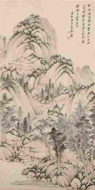 chinese zhang daqian's landscape painting