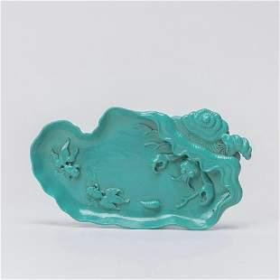 chinese green glazed porcelain washer