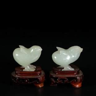 pair of chinese jade chickens